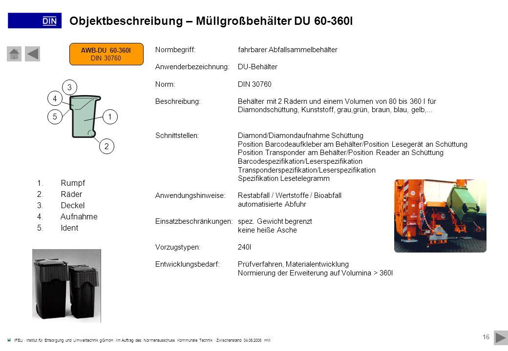 Objektbeschreibung – Müllgroßbehälter DU 60-360l