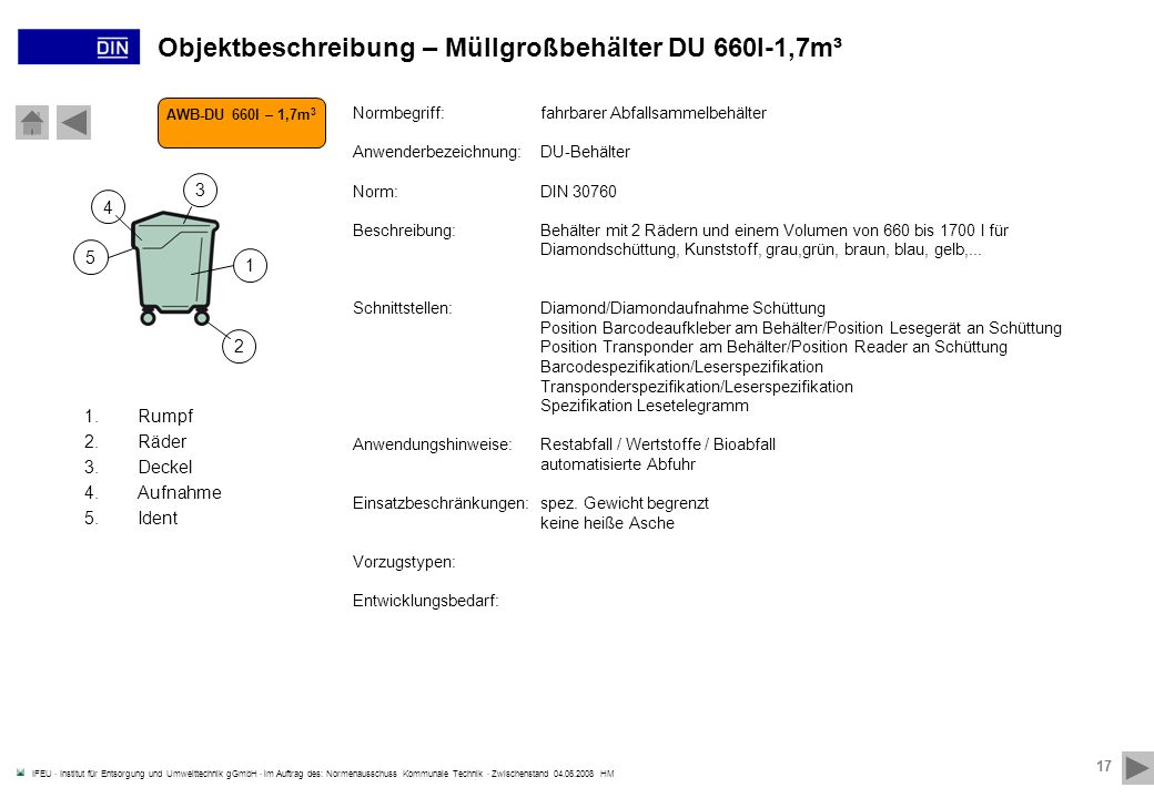 Objektbeschreibung – Müllgroßbehälter DU 660l-1,7m³