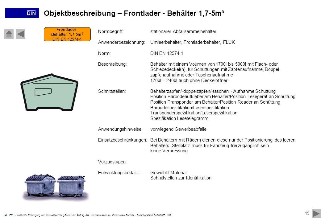 Objektbeschreibung – Frontlader - Behälter 1,7-5m³