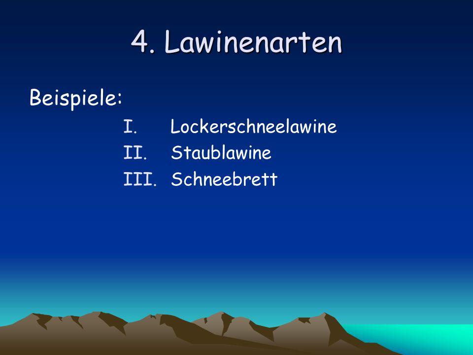 4. Lawinenarten Beispiele: Lockerschneelawine Staublawine Schneebrett