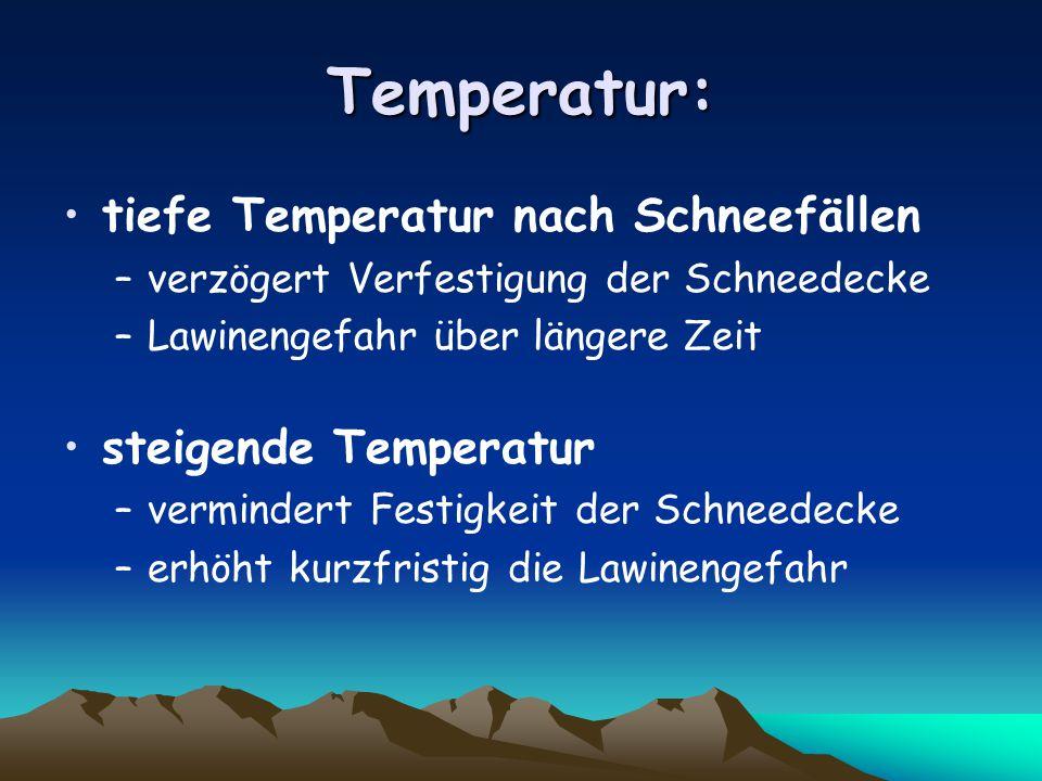 Temperatur: tiefe Temperatur nach Schneefällen steigende Temperatur