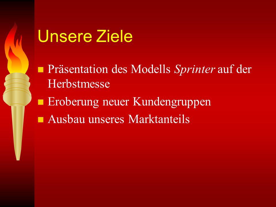 Unsere Ziele Präsentation des Modells Sprinter auf der Herbstmesse
