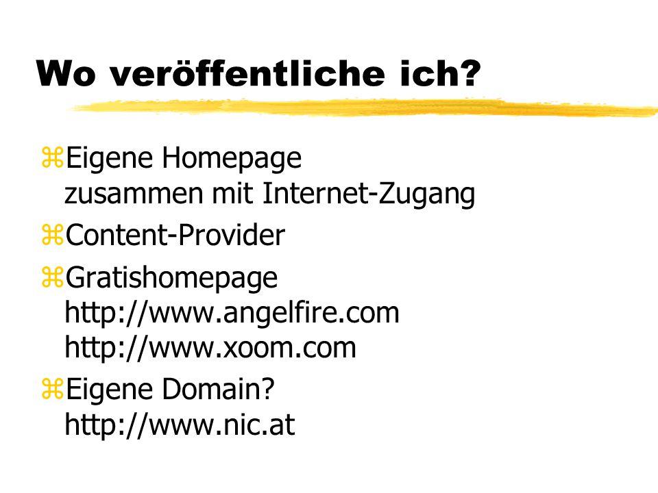 Wo veröffentliche ich Eigene Homepage zusammen mit Internet-Zugang