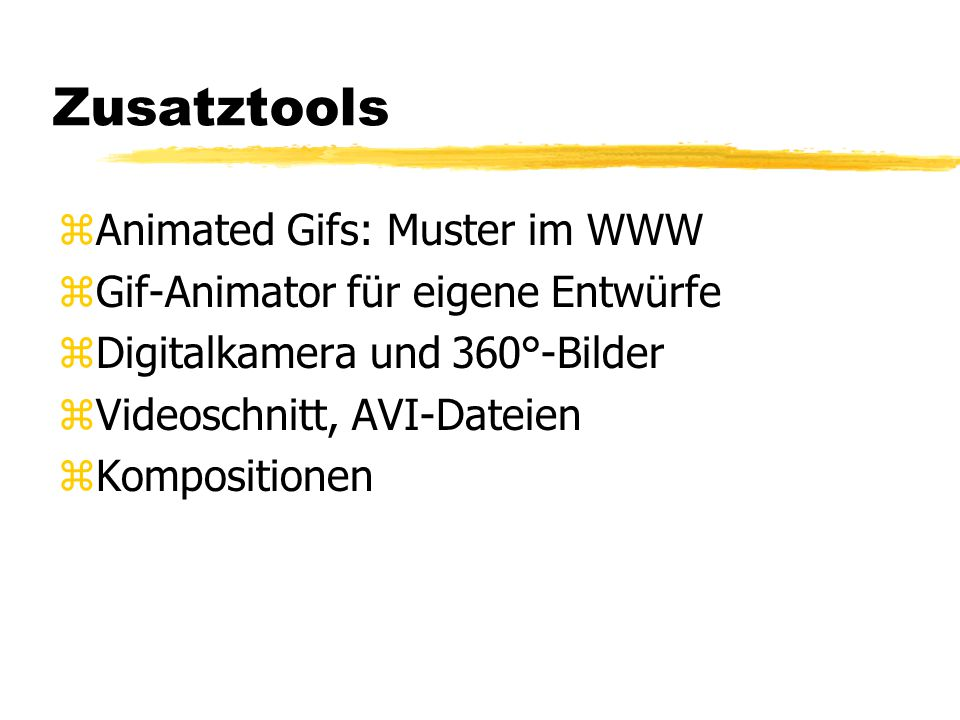 Zusatztools Animated Gifs: Muster im WWW