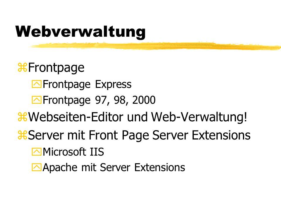 Webverwaltung Frontpage Webseiten-Editor und Web-Verwaltung!