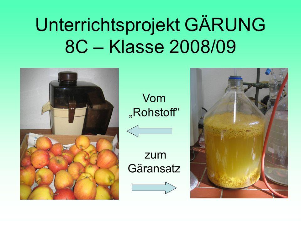 Unterrichtsprojekt GÄRUNG 8C – Klasse 2008/09