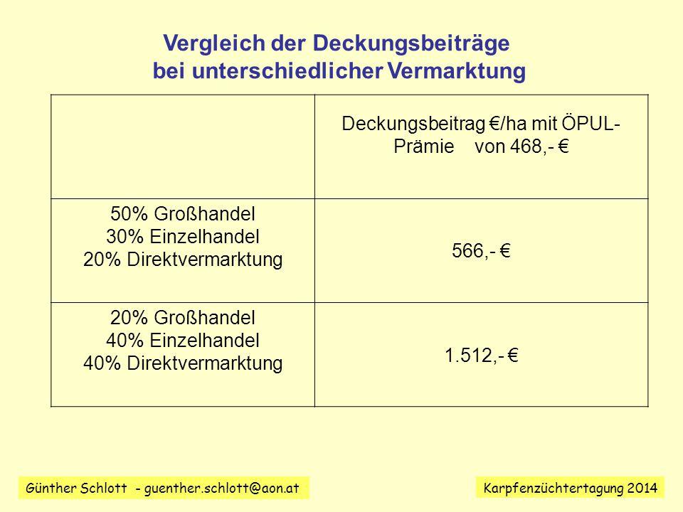 Vergleich der Deckungsbeiträge bei unterschiedlicher Vermarktung