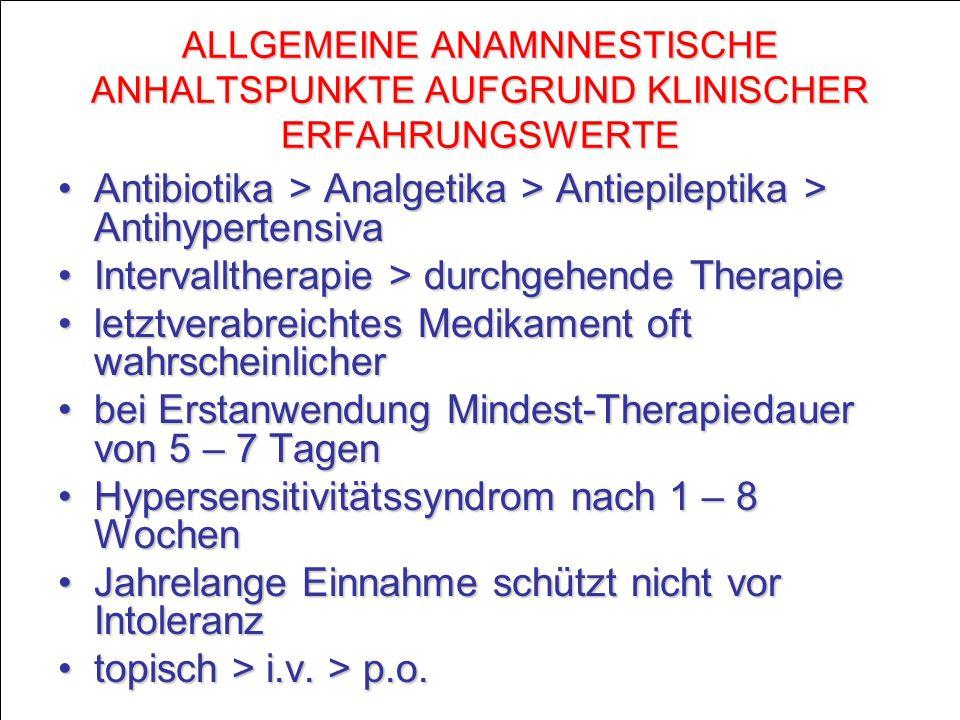 Antibiotika > Analgetika > Antiepileptika > Antihypertensiva