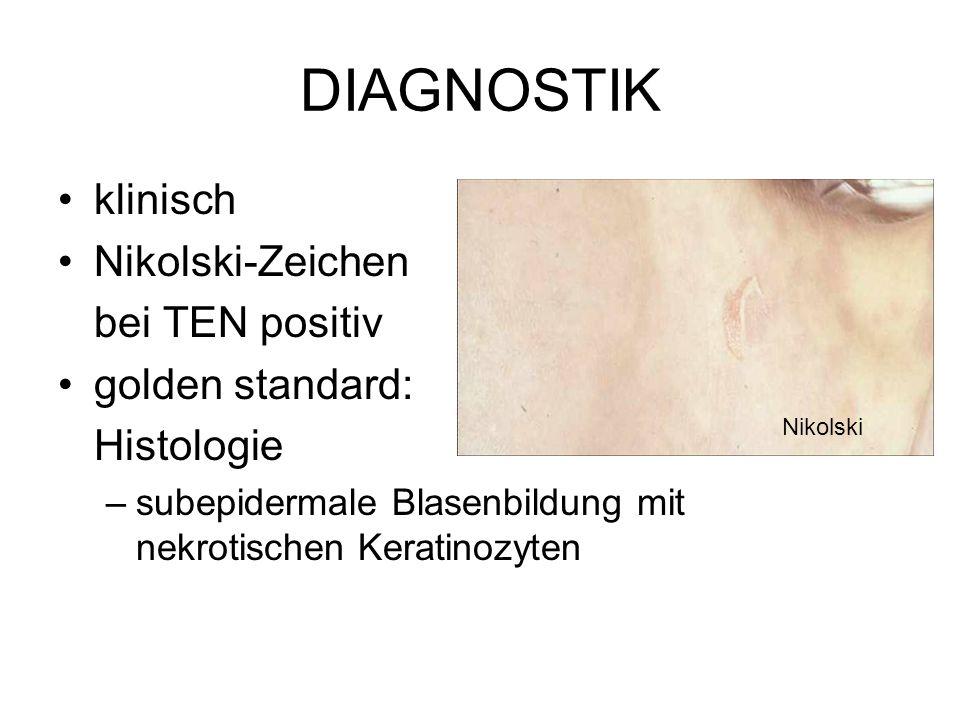 DIAGNOSTIK klinisch Nikolski-Zeichen bei TEN positiv golden standard: