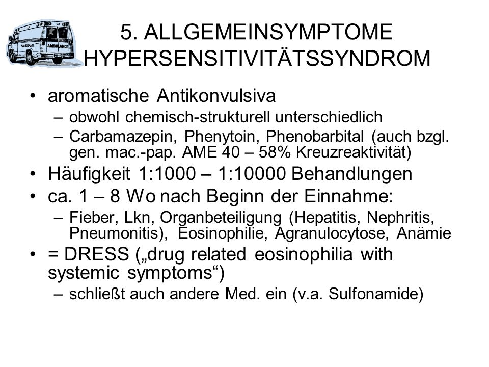 5. ALLGEMEINSYMPTOME HYPERSENSITIVITÄTSSYNDROM