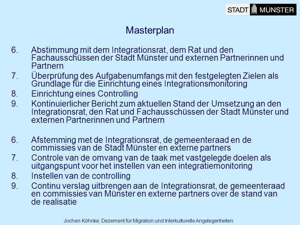 Masterplan Abstimmung mit dem Integrationsrat, dem Rat und den Fachausschüssen der Stadt Münster und externen Partnerinnen und Partnern.