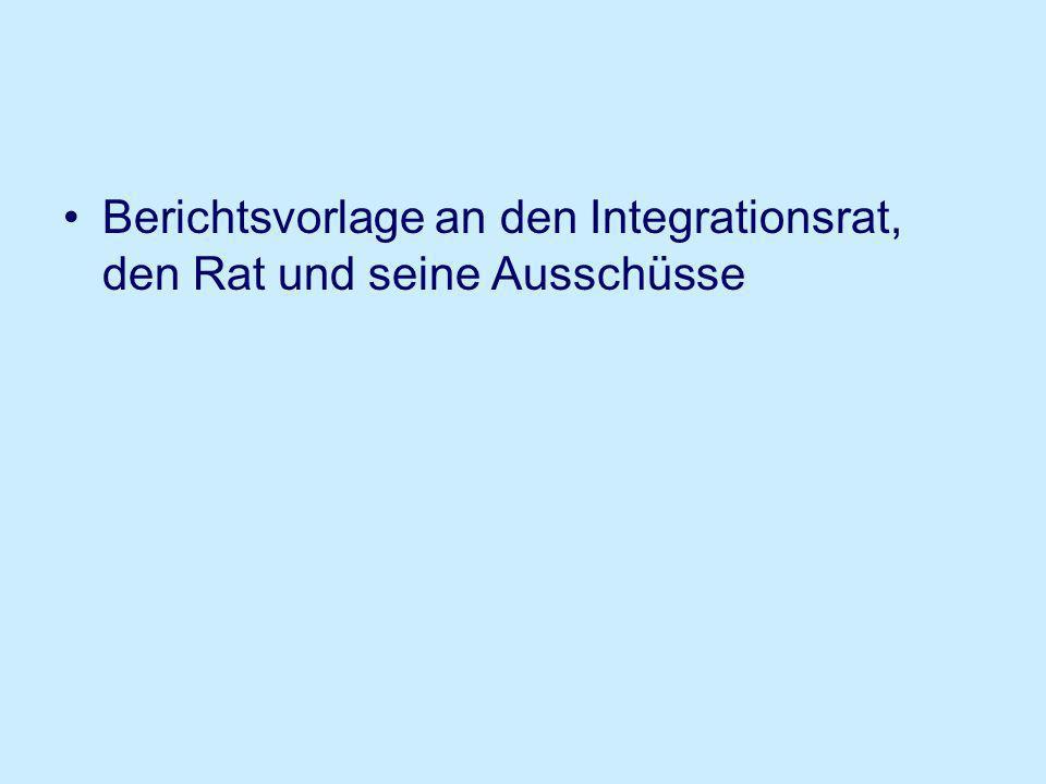 Berichtsvorlage an den Integrationsrat, den Rat und seine Ausschüsse