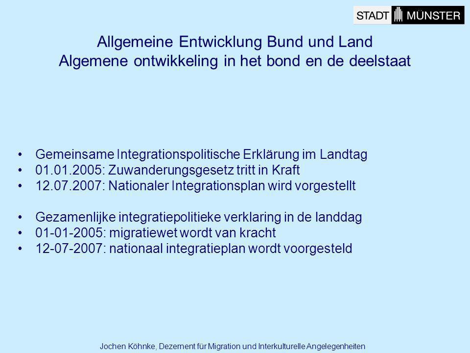 Allgemeine Entwicklung Bund und Land Algemene ontwikkeling in het bond en de deelstaat