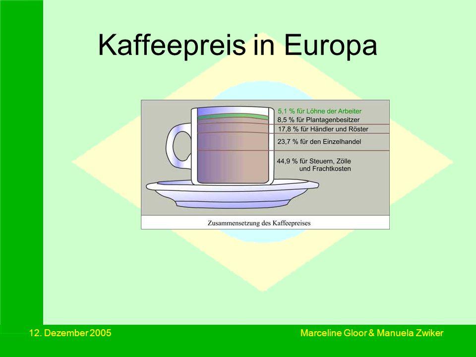Kaffeepreis in Europa 12. Dezember 2005