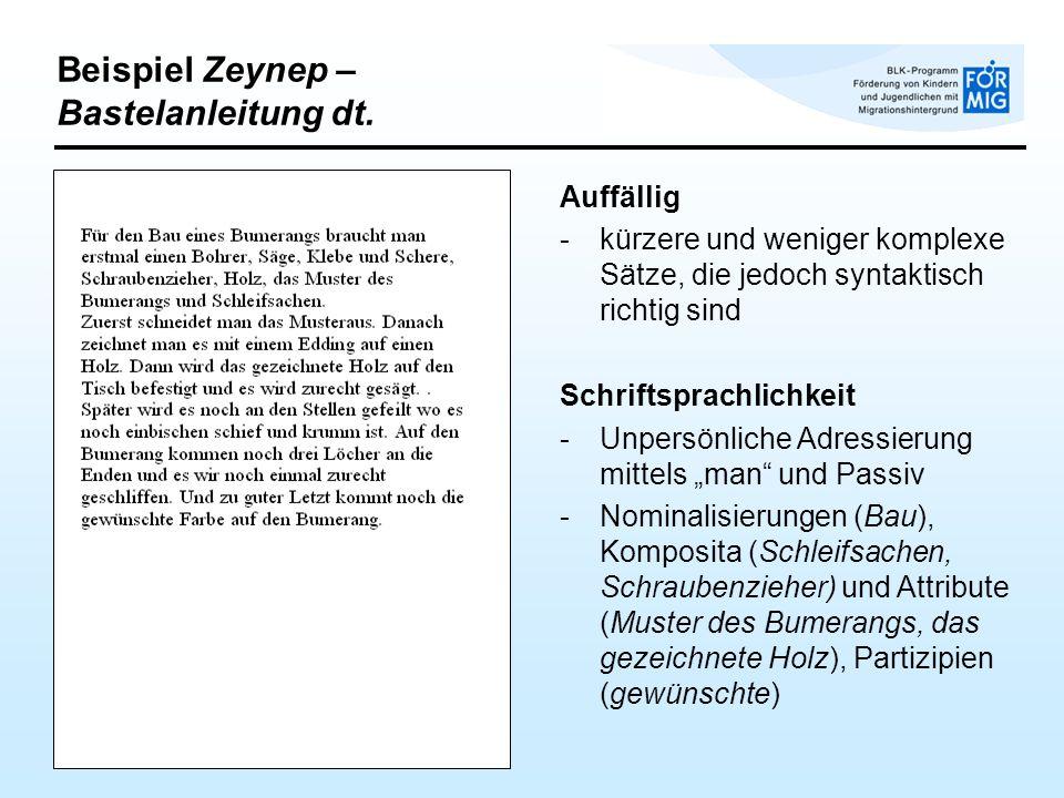 Beispiel Zeynep – Bastelanleitung dt.