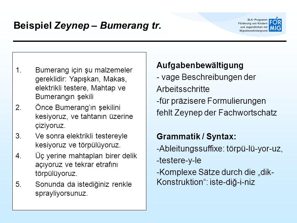 Beispiel Zeynep – Bumerang tr.
