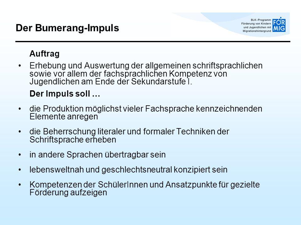 Der Bumerang-Impuls Auftrag.