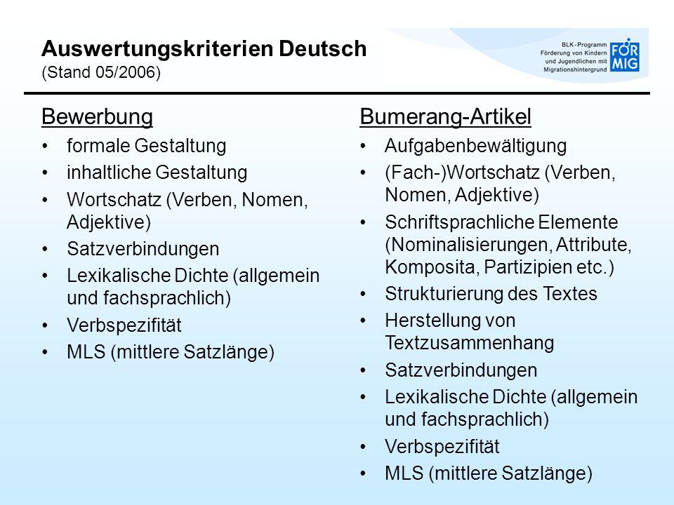 Auswertungskriterien Deutsch (Stand 05/2006)