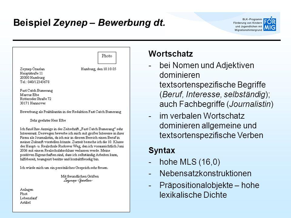 Beispiel Zeynep – Bewerbung dt.