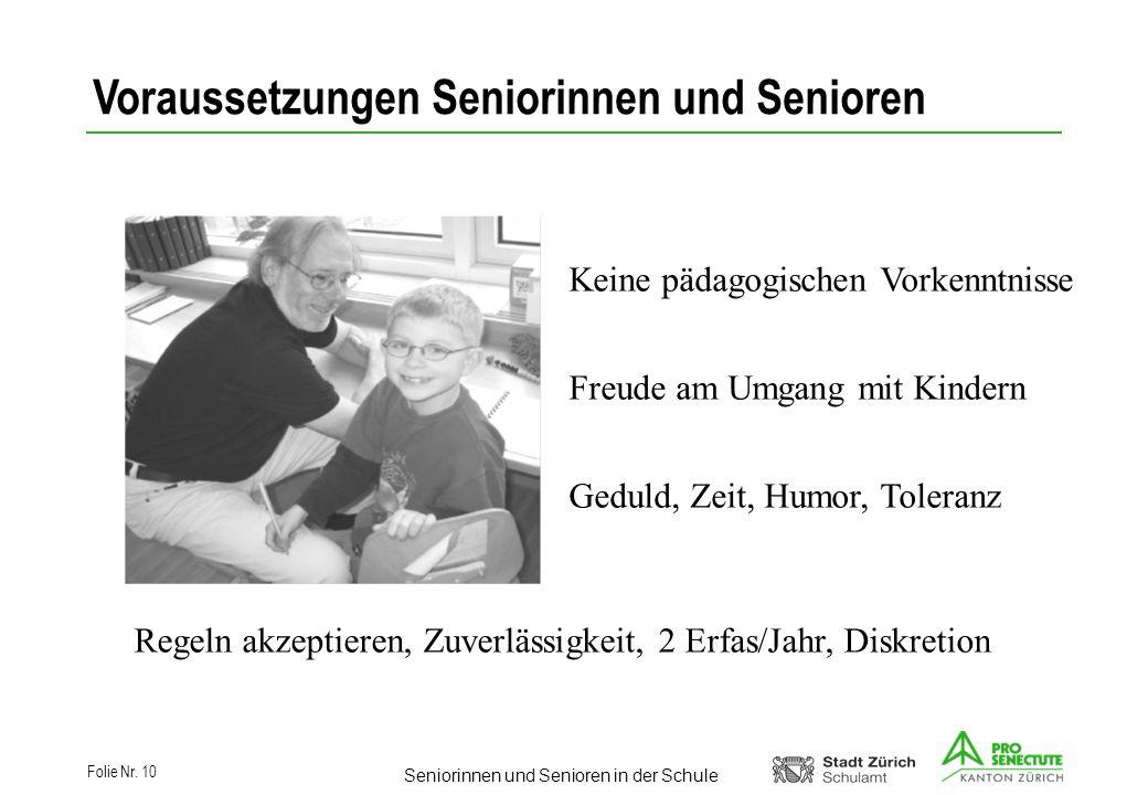 Voraussetzungen Seniorinnen und Senioren