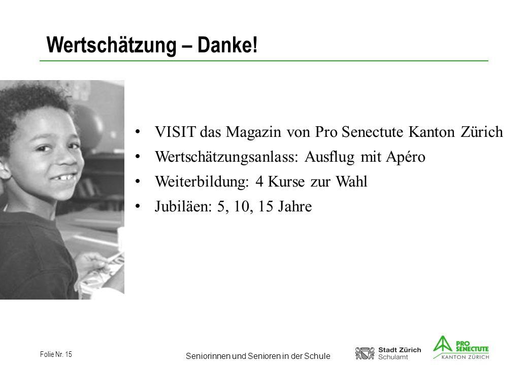 Wertschätzung – Danke! VISIT das Magazin von Pro Senectute Kanton Zürich. Wertschätzungsanlass: Ausflug mit Apéro.