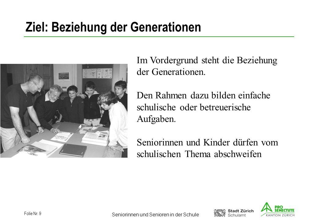 Ziel: Beziehung der Generationen