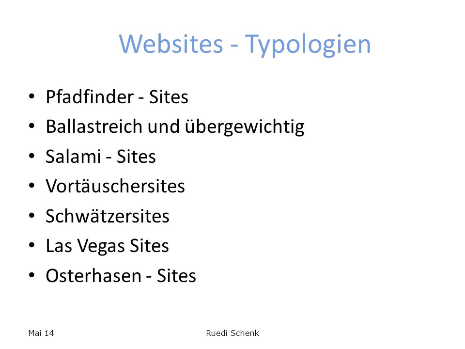 Websites - Typologien Pfadfinder - Sites