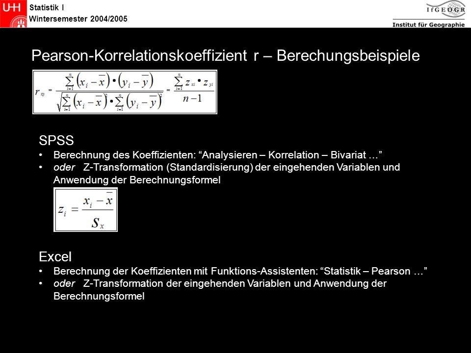 Statistik Pearson-Korrelationskoeffizient r – Berechungsbeispiele SPSS
