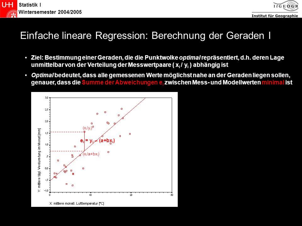 Statistik Einfache lineare Regression: Berechnung der Geraden I