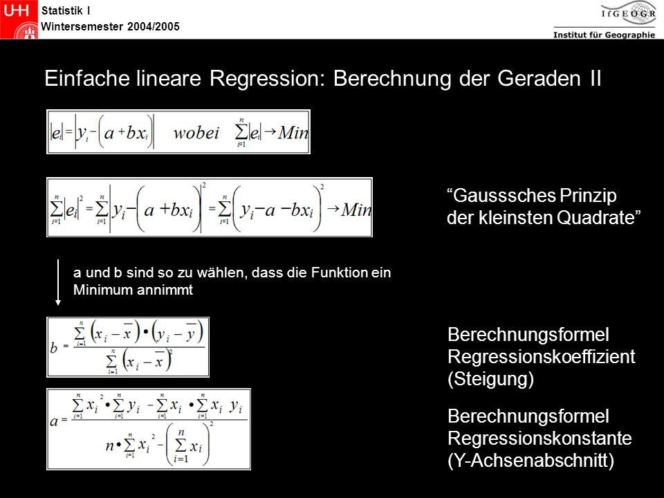 Statistik Einfache lineare Regression: Berechnung der Geraden II