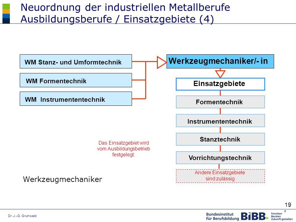 Neuordnung der industriellen Metallberufe Ausbildungsberufe / Einsatzgebiete (4)