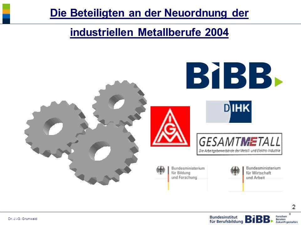 Die Beteiligten an der Neuordnung der industriellen Metallberufe 2004