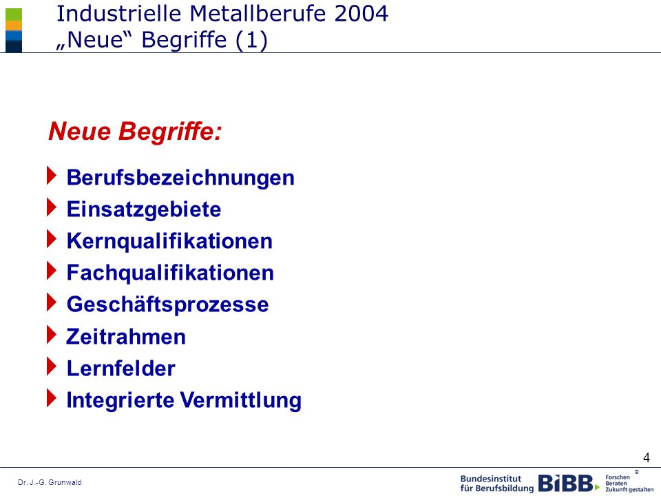 """Industrielle Metallberufe 2004 """"Neue Begriffe (1)"""