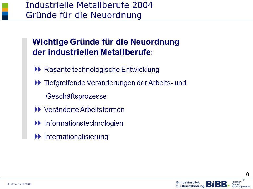 Industrielle Metallberufe 2004 Gründe für die Neuordnung