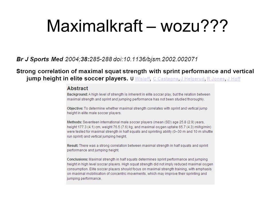 Maximalkraft – wozu Br J Sports Med 2004;38:285-288 doi:10.1136/bjsm.2002.002071.