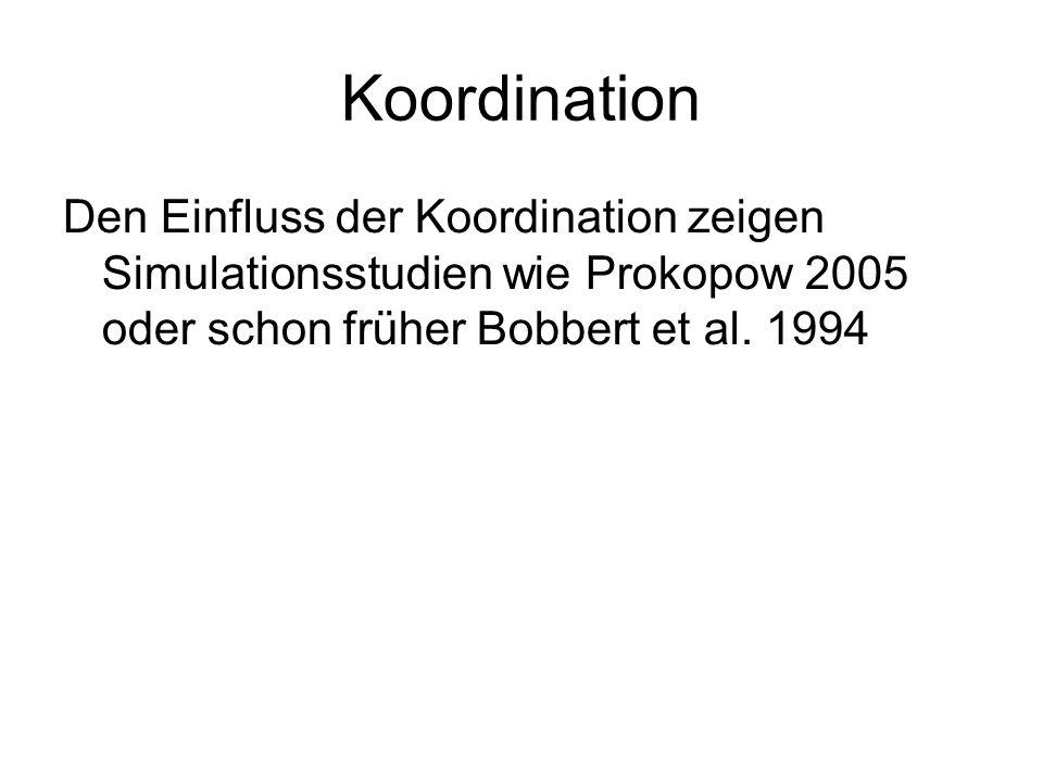 Koordination Den Einfluss der Koordination zeigen Simulationsstudien wie Prokopow 2005 oder schon früher Bobbert et al.