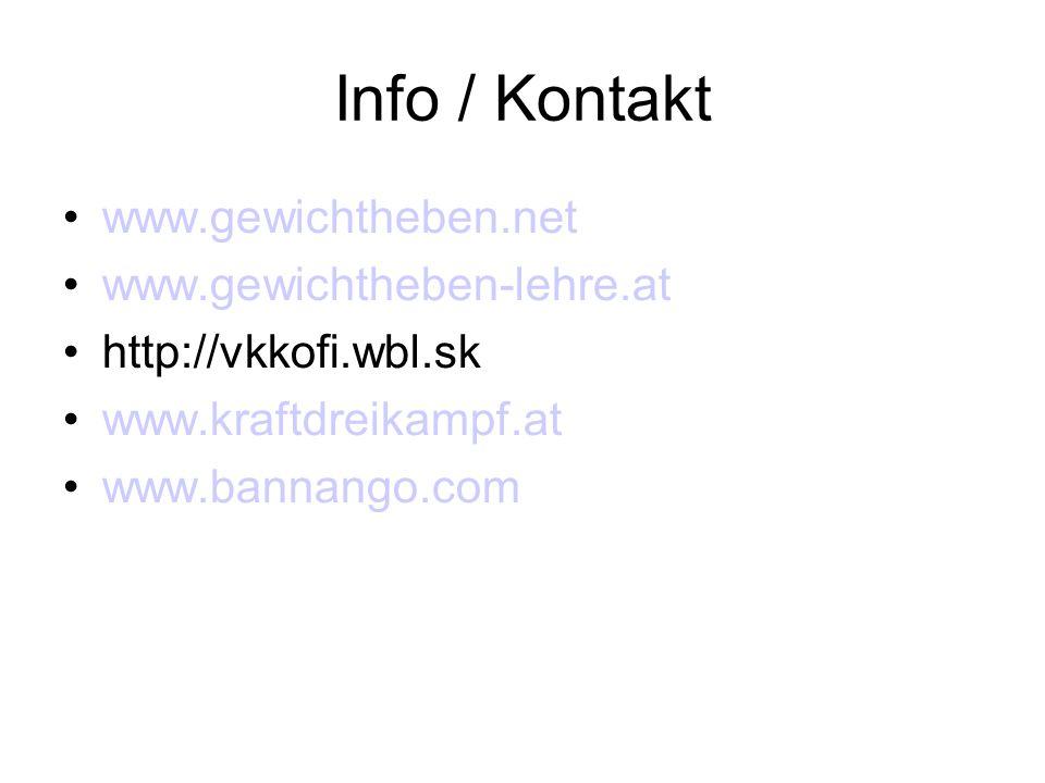 Info / Kontakt www.gewichtheben.net www.gewichtheben-lehre.at