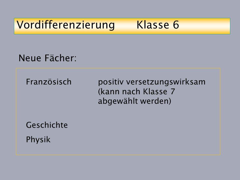 Vordifferenzierung Klasse 6