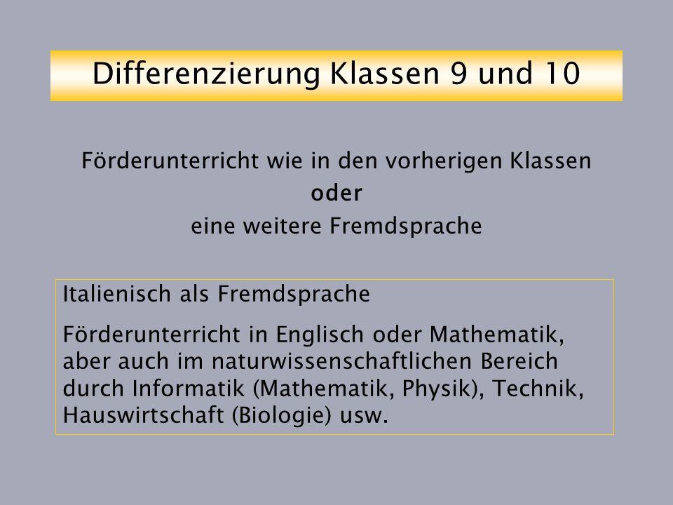 Differenzierung Klassen 9 und 10