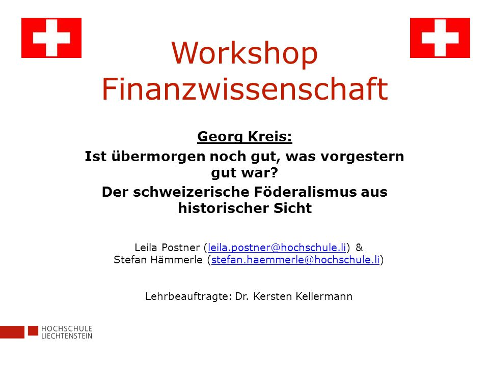 Workshop Finanzwissenschaft