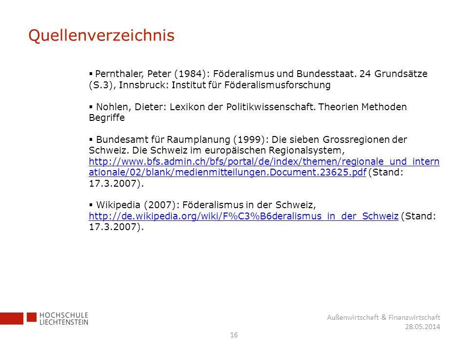 Quellenverzeichnis Pernthaler, Peter (1984): Föderalismus und Bundesstaat. 24 Grundsätze (S.3), Innsbruck: Institut für Föderalismusforschung.