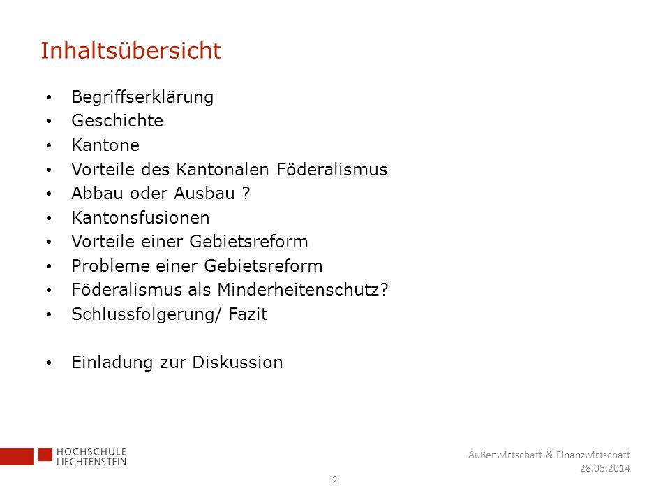 Inhaltsübersicht Begriffserklärung Geschichte Kantone