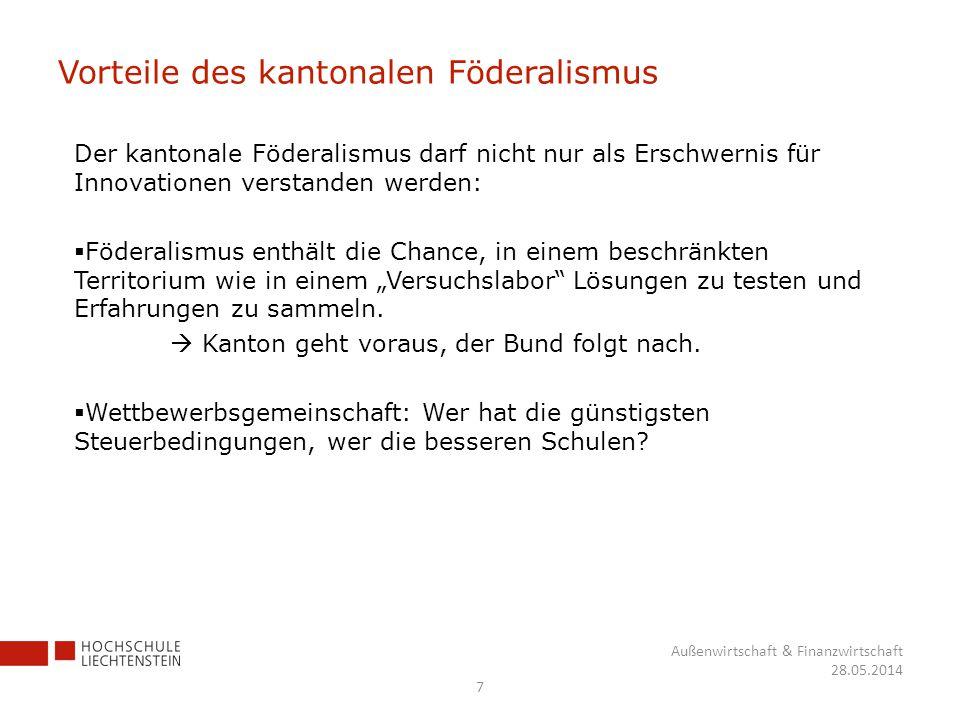 Vorteile des kantonalen Föderalismus