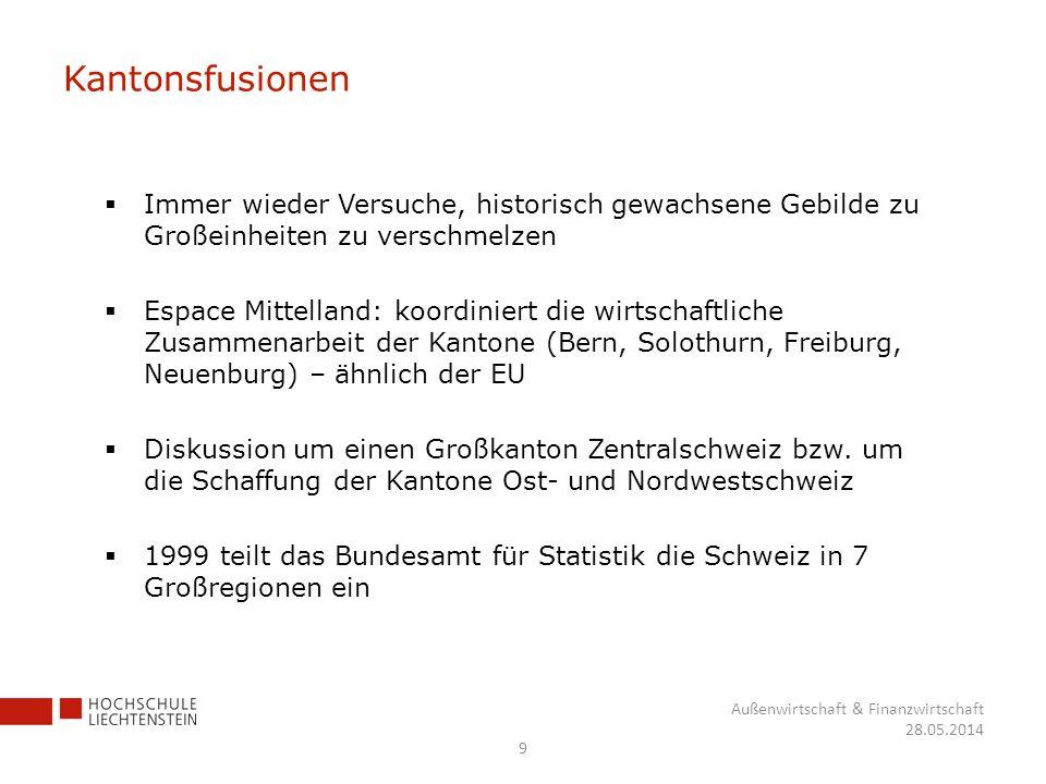 Kantonsfusionen Immer wieder Versuche, historisch gewachsene Gebilde zu Großeinheiten zu verschmelzen.