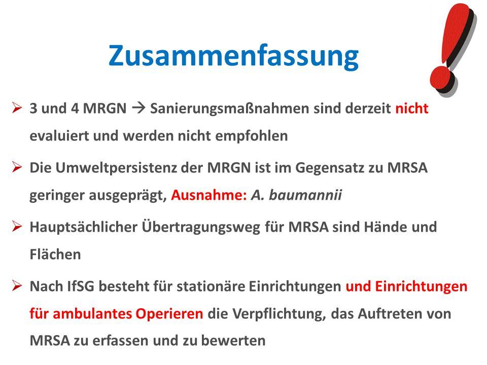 Zusammenfassung 3 und 4 MRGN  Sanierungsmaßnahmen sind derzeit nicht evaluiert und werden nicht empfohlen.