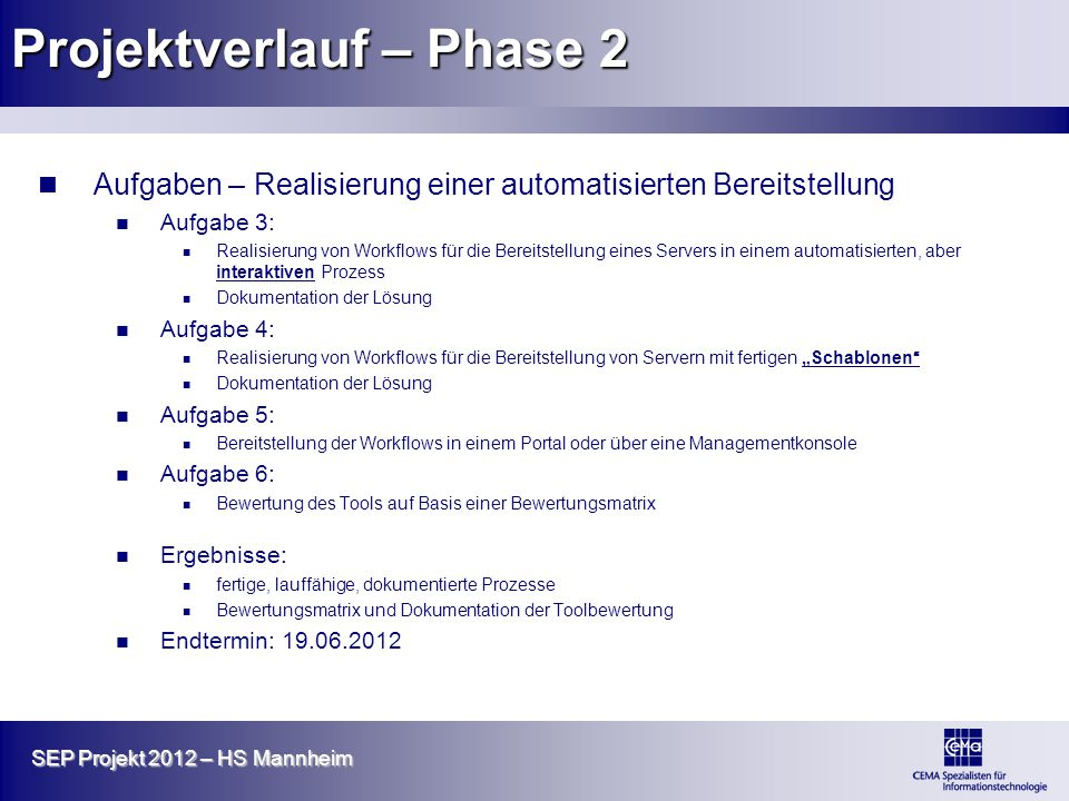 Projektverlauf – Phase 2