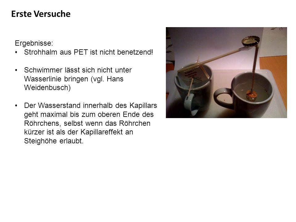 Erste Versuche Ergebnisse: Strohhalm aus PET ist nicht benetzend!