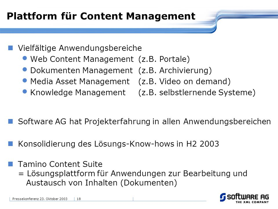 Plattform für Content Management