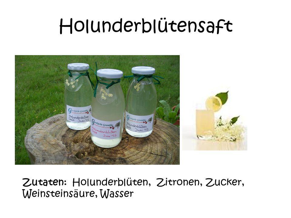 Holunderblütensaft Zutaten: Holunderblüten, Zitronen, Zucker, Weinsteinsäure, Wasser