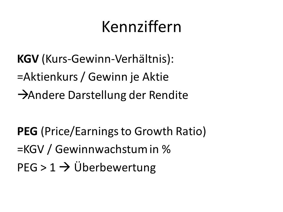Kennziffern KGV (Kurs-Gewinn-Verhältnis):